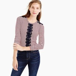 J. Crew long sleeve lace detail striped tee